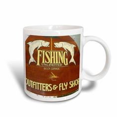 3dRose All About Fishing, Ceramic Mug, 11-ounce