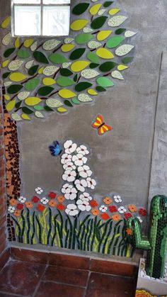 Mosaic Garden, Mosaic Art, Garden Art, Colorful Artwork, Mosaic Projects, Calligraphy Art, Kids Rugs, Crochet, Creative