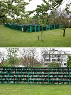 Massimo Bartolini's Outdoor Library, installed in 2012 for the Belgian Art Festival TRACK in Ghent.