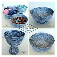 3 sett med papirskåler. ----3 pcs paper bowls  #Newspaperweaving #Newspaper #papirfletting #kurv #decor #pynteting #kurver #oppbevaring #storage #snoravndesign