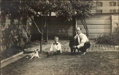 Father Son & Dogs on Lawn Pitbull? & Poodle Breed? Real Photo Postcard