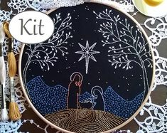 Christmas Embroidery kit - embroidery hoop art - Nativity - Hand Embroidery - traditional embroidery kit. - modern embroidery kit beginner