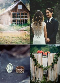 This wedding is so presh it hurts. And those rings!? SO creative. It's official. I don't want a typical wedding ring. I want an antique like this green one<3