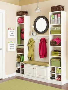 Love the idea of using purchased bookcases, etc., together to look like built-ins. DIY home improvement for a mudroom: 35 dollars for the two bookcases, and some baseboard trim to make it look like a great built in. All this can be purchased at Lowes. Organizing Your Home, Home Organization, Mudroom Organizer, Organizing School, Organizing Ideas, Organising, Organizing Books, Billy Regal, Baseboard Trim