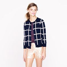 Collection featherweight cashmere cardigan in windowpane check.  But definitely not with those shorts.