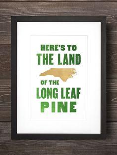 Down Home // North Carolina letterpress print on 100% cotton