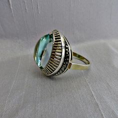 THEODOR FAHRNER Sterling Ring Topaz Art Deco by SilverFoxAntiques