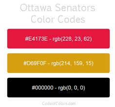 ottawa senators team color codes
