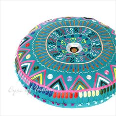 """Teal Blue Green Round Decorative Floor Cushion Pillow Seating Cover - 24"""" 
