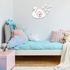 Swan Wall Clock – My Urban One Baby Bedroom, Nursery Room, Bedroom Decor, Playroom Organization, Playroom Decor, Hanging Clock, Cartoon Wall, Boutique Homes, Pvc