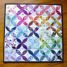 All Day mini quilt. Orange peel quilt made with Anna Maria Horner fabrics by Adrianne On the windy side. Scrappy Quilts, Mini Quilts, Baby Quilts, Sampler Quilts, Strip Quilts, Rainbow Quilt, Embroidery Shop, Miniature Quilts, Quilt Festival