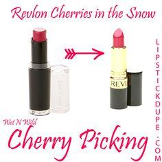 Revlong Cherries in the Snow Dupe Wet N Wild Cherry Picking Elf Makeup Dupes, Drugstore Makeup Dupes, Lipstick Dupes, Makeup Swatches, Matte Lipstick, Lipsticks, Skincare Dupes, Beauty Dupes, Beauty Products
