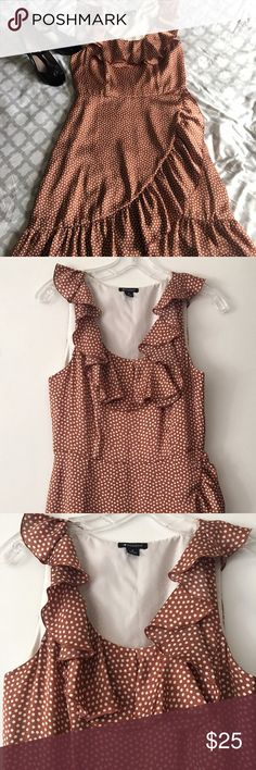 Charlotte Ronson Polk a dot dress in sz 4 Cute Charlotte Ronson brown and cream Polk a dot dress in size 4. Ruffle V neckline. Side zipper. Charlotte Ronson Dresses