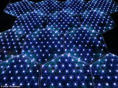 Light it up: LEDs within the panels can change colour and pattern to be adaptable for a range of uses - from marking parking spaces to warning drivers of an accident ahead