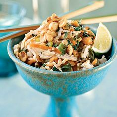 Sesame Brown Rice Salad with Shredded Chicken and Peanuts   CookingLight.com