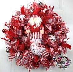 Deco Mesh CHRISTMAS Wreath For Door or Wall Red Red Silver White Santa Stocking by www.southerncharmwreaths.com #santa #stocking