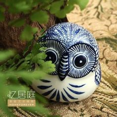 Classical blue-and-white porcelain,Home Arts and crafts,ceramic OWL