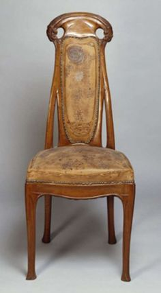 Hector Guimard chair, circa 1900, with original tooled leather.