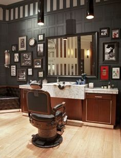 The Art of Shaving is inspired by the truth of barbershop traditions. BuyRite Beauty Salon Equipment Barber Chair s Styling Stations Barbershop Interior Design Ideas Decor Vintage Modern Rustic Barber Shop Interior, Barber Shop Decor, Shop Interior Design, Cafe Design, Design Design, Design Ideas, Barbershop Design, Barbershop Ideas, The Art Of Shaving