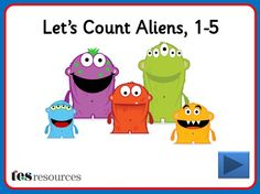 Interactive counting screens to count amounts between 1 and 5. Choose from different aliens and count them as they appear one-by-one on the screen. You can then click each object to see the digits as you count.