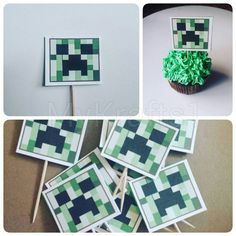Check out this item in my Etsy shop https://www.etsy.com/listing/262969594/minecraft-cupcake-toppers-set-of-18