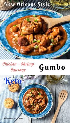 Keto Chicken, Shrimp, Sausage Gumbo - our New Orleans style stew is hearty, tasty, and low carb! Make quickly on stove top or in instant pot! Shrimp And Sausage Gumbo, Shrimp Gumbo, Sausage Jambalaya, Stew Chicken Recipe, Easy Crockpot Chicken, Turkey Crockpot, Ketogenic Recipes, Keto Recipes, Cooking Recipes