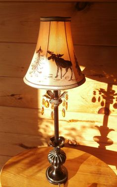 Table Lamp, Moose, Antique Style Table Lamp, Hand Painted , Moose Lamp