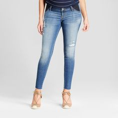 NEW Isabel Maternity Inset//Side Panel Distressed Dark Wash Skinny Jeans multi Sz