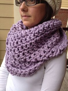 Super Chunky Lilac Crocheted Cowl on Etsy, $25.00