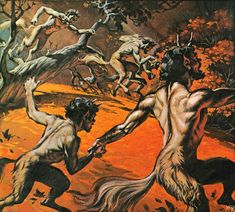 Angus McBride_'Satyrs from Finding Out magazines back cover from the 60's