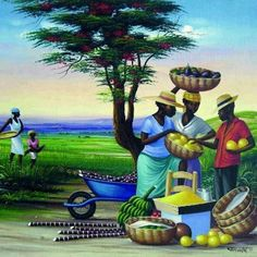 Haitian {primitive) or naive art, one of my favorite genres… Caricatures, Afrique Art, Haitian Art, African Paintings, Caribbean Art, Art Africain, Black Artwork, Tropical Art, Afro Art