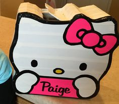 The Hello Kitty Valentine box I made last year for my daughter's class party. She was pleased with how it turned out. Whew! Made from a box, some extra cardboard and Duck brand tape.