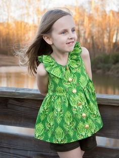 Lil Luxe Collection Monarch Top and Papillon Shorties sewn up for St. Patricks Day outfit using Riley Blake Fabrics Primavera line and some olive twill.
