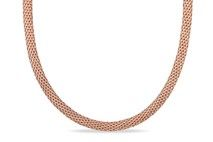 Mesh Chain Necklace With Rose Gold Plating