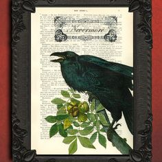 The Raven dictionary print Edgar Allan Poe art print - upcycled french book dictionary art print - vintage book page recycled by MadameMemento on Etsy https://www.etsy.com/listing/103610040/the-raven-dictionary-print-edgar-allan