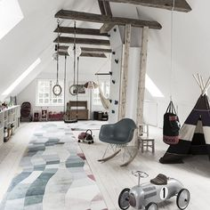 37 The Best Attic Playroom Design And Decor Ideas - Kids are cute and playful individuals. They always like to play with their friends and with toys. You as a parent must do your best to provide your ki. Attic Playroom, Playroom Design, Attic Design, Attic Rooms, Attic Spaces, Kids Room Design, Kid Spaces, Playroom Ideas, Modern Playroom