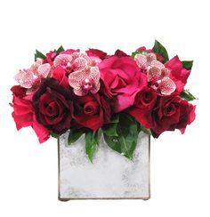 Antique Mirror Box in Reds & Pinks My Flower, Flower Vases, Flower Power, Mirror Box, Floral Arrangements, Flower Arrangement, Colour Schemes, Be My Valentine, Flower Decorations