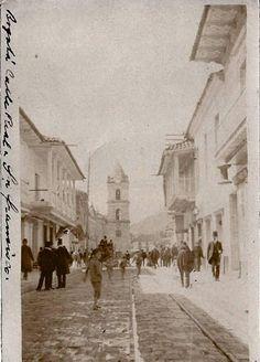 Bogota Antigua _carrera 7ª de Bogota antes de 1915, los rieles se conservaron en el piso... hasta donde se.