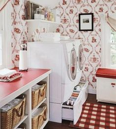 Longaberger wash day laundry baskets.  Love this room!