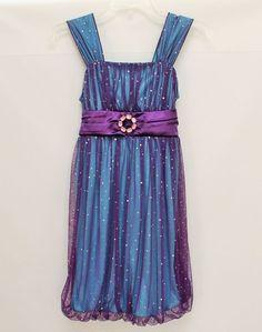 Candie's Girl Dress Sz 12 Purple Bubble Hem with Mesh Glitter Overlay Sleeveless #Candies #Dressy