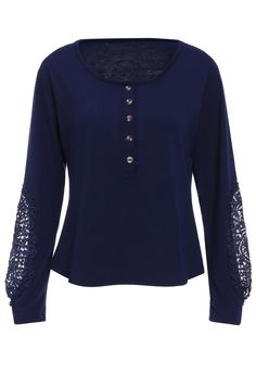 Casual Lace Splicing Scoop Neck Long Sleeve T-Shirt For Women - DEEP BLUE L