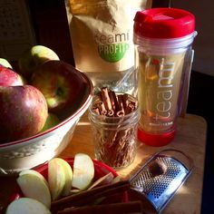 Apple Pie Tea Cook sliced apples on a plate with a little hot water in microwave for 1 minute or until soft. Add apples, 1/2 cinnamon stick and fresh ground nutmeg to your hot Teami tea. Yum!!  The Teami tumbler has a stainer in the lid so you can drink your loose leaf tea without getting any tea leaves in your mouth! ✨Get 10% OFF with code PARKS10 at Teamiblends.com.  #teamiblends #teami #thankyouteami #tea #fall #autumn #applepie #apples