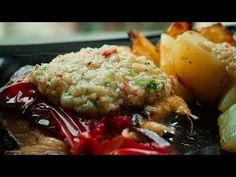 Pulpe de pui cu cartofi și sos usturoiat - YouTube Grains, Rice, Meat, Chicken, Youtube, Food, Essen, Meals, Seeds