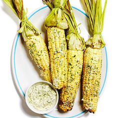 Grilled Corn on the cob with cilantro queso fresco butter