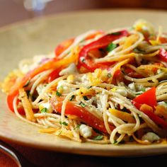 """Here's a way to use the """"power vegetables"""" sweet potato and red bell pepper in a satisfying vegetarian pasta dish full of fresh herbs and creamy goat cheese. Any fresh herbs you have on hand, like basil, oregano, sorrel or chives, can be substituted for the tarragon. Serve with a garden salad."""