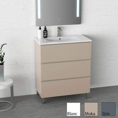 Inglet 81 cm, Meuble Salle de Bain brillant laqué, 3 Finitions, vasque céramique   #salledebain #meuble  #design #style #deco #bathroom #bath #bathroomdesign #bathroomideas