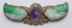"""Antique Chinese Gilt Export Silver Carved Jade Amethyst Brooch Pin 2 5 8"""" China 
