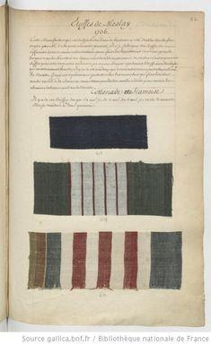 * Etoffes de Meslay // 1736 Cottonade ou Siamoise - Echantillons d'étoffes et de rubans recueillis par le Maréchal de Richelieu