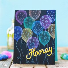 Using Mica Powders on Dark Background. Hooray Card by Betsy Veldman for Papertrey Ink (May 2018)