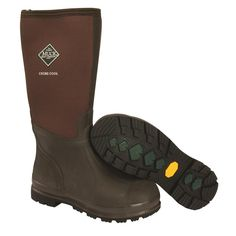 Muck Boots- Chore Cool Hi- Brown, Rubber Boots 4mm NEOPRENE bootie with four-way stretch nylon,100% waterproof, light-weight and flexible Upper is triple reinforced in the toe area and quadruple reinforced in the heel area Steel shank for additional arch support